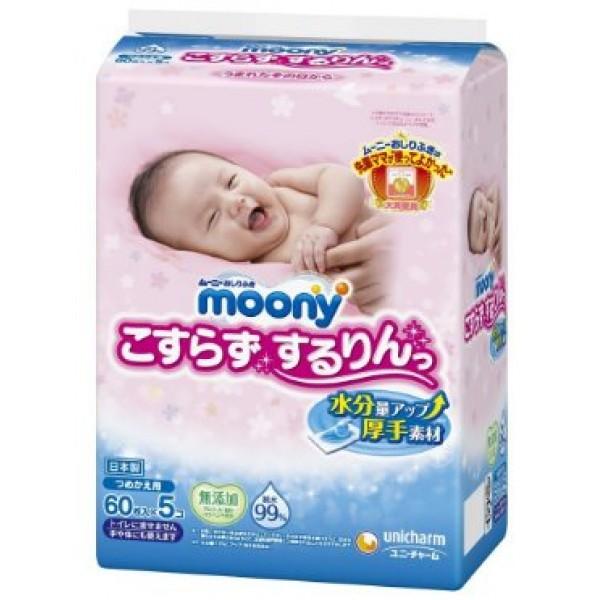 Moony 加厚超柔濕紙巾(60片 x 5包裝)