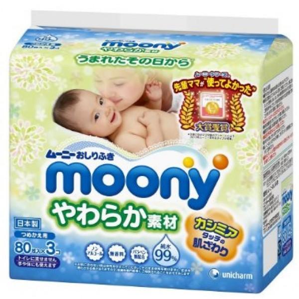 Moony 柔潤濕紙巾(80片 x 3包裝)