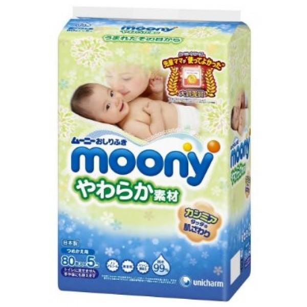 Moony 柔潤濕紙巾(80片 x 5包裝)