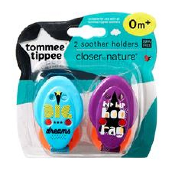 Tommee Tippee Closer to Nature 奶咀鏈 (2條裝) - 藍/紫色