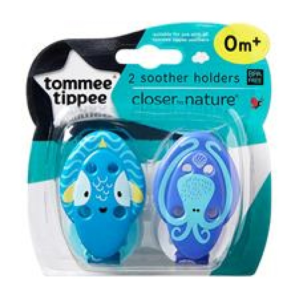Tommee Tippee Closer to Nature 奶咀鏈 (2條裝) - 綠/紫色