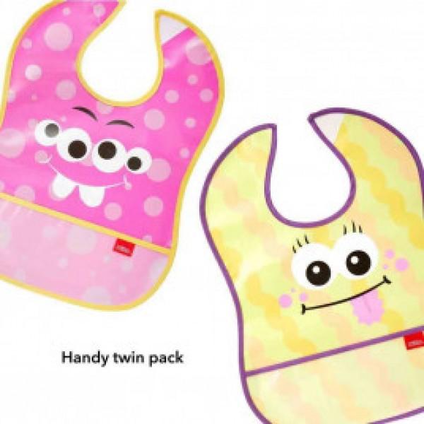 Nuby Catch All Peva 防水口水肩 (2件裝) – 粉紅/黃