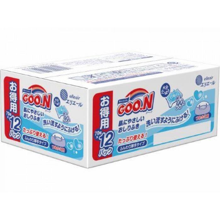 大王GOON 純水柔潤濕紙巾(70片 x 12包裝)
