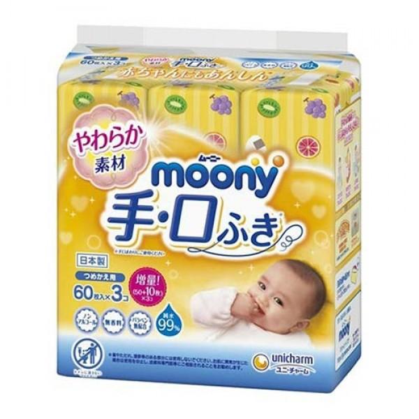 Moony 手口用濕紙巾補充裝(60片 x 3包裝)