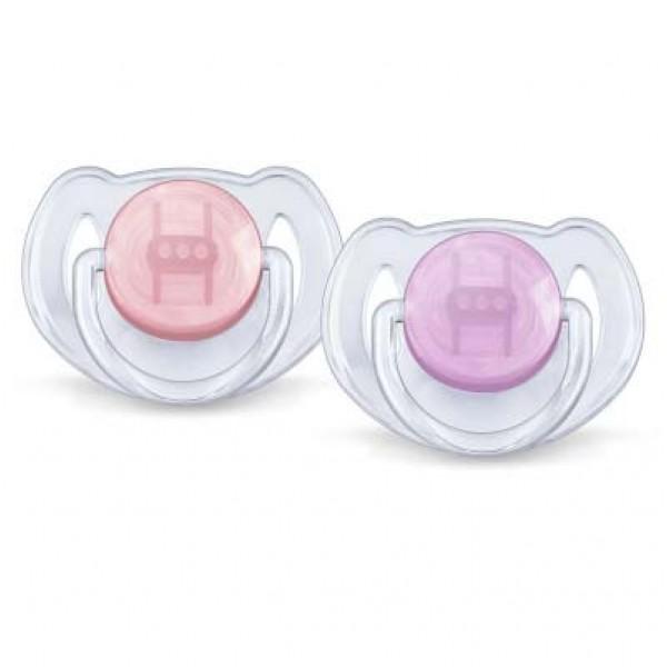 Philips Avent 透明安撫奶嘴 – 粉紅/紫 (6-18 個月) 2個裝